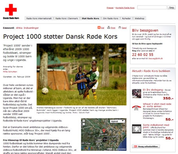 Røde Kors website april 2009